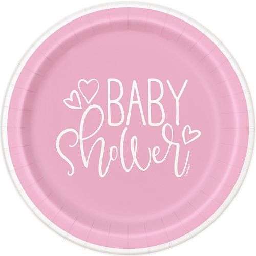 """Pink Hearts Baby Shower 7"""" Plates"""