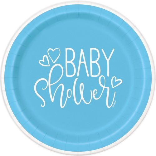 """Blue Hearts Baby Shower 9"""" Plates"""