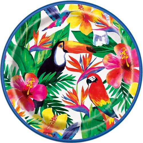 """Palm Tropical Luau 9"""" Plate"""