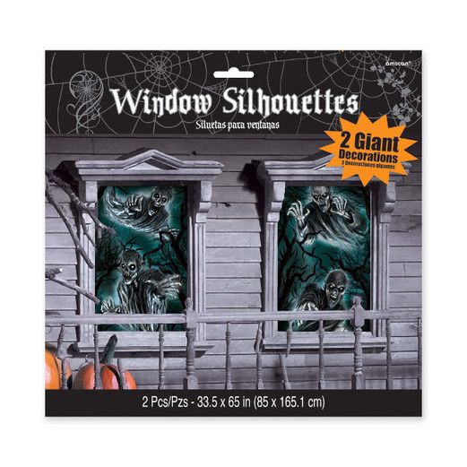 Halloween Decorations Cemetery Window Silhouettes Image