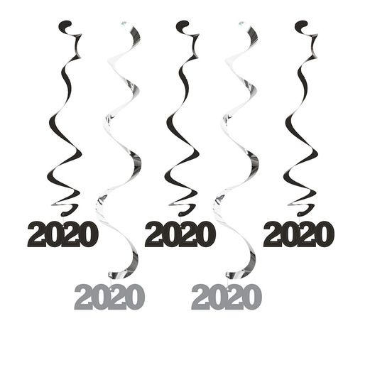 New Years Decorations 2020 Black and Silver Dizzy Danglers Image