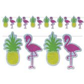Luau Decorations Flamingo and Pineapple Streamer Image