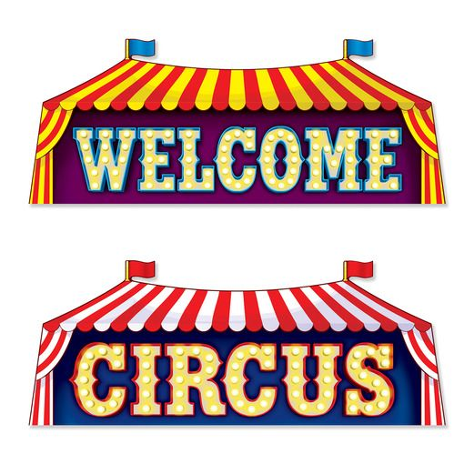 Birthday Party Decorations Circus Sign Cutouts Image