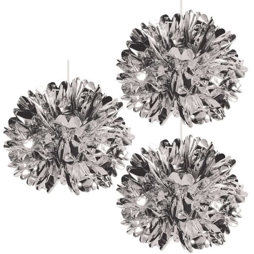 New Years Decorations Silver Metallic Fluff Balls Image