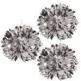 New Years Decorations Silver Metallic Fluff Balls Image