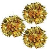 New Years Decorations Gold Metallic Fluff Balls Image