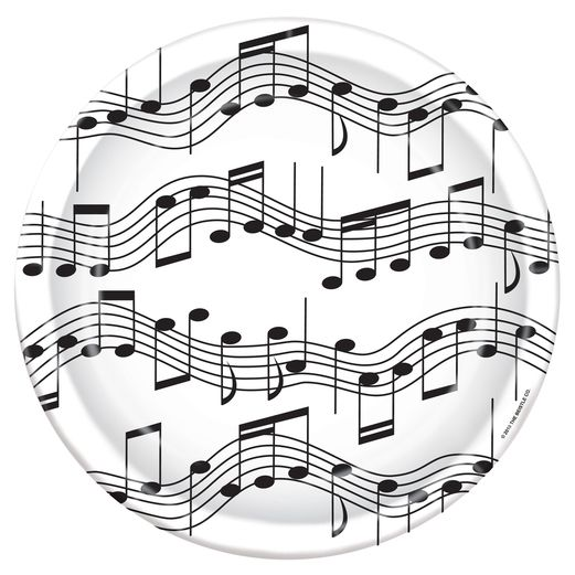 "Music Table Accessories Musical Notes Plates 7"" Image"
