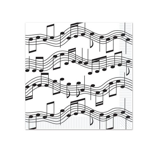 Fifties Table Accessories Musical Notes Beverage Napkins Image