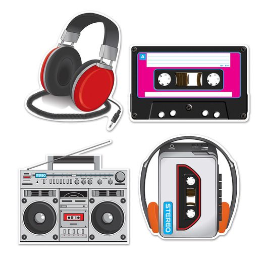 80s Decorations Cassette Player Cutouts Image