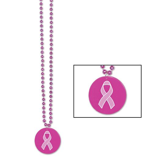 Party Wear Pink Ribbon Medallion Beads Image
