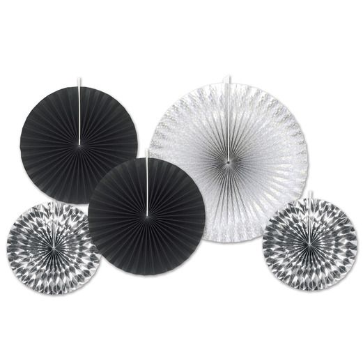 New Years Decorations Black and Silver Decorative Fans Image