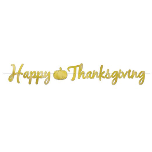 Thanksgiving Decorations Foil Happy Thanksgiving Streamer Image