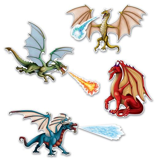 Birthday Party Decorations Dragon Cutouts Image