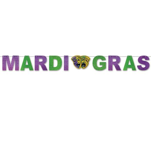 Mardi Gras Decorations Mardi Gras Glitter Streamer Image