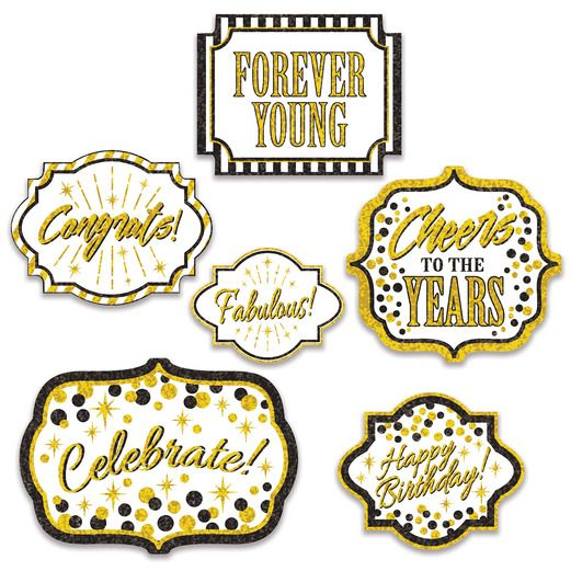 Birthday Party Decorations Forever Young Cutouts Image
