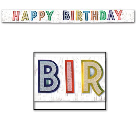 Birthday Party Decorations Metallic Happy Birthday Banner Image