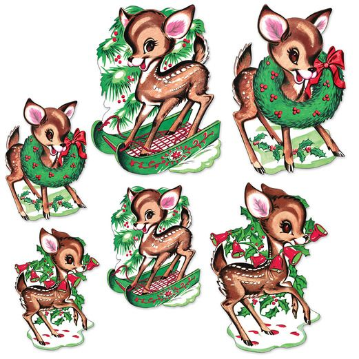 Christmas Decorations Vintage Reindeer Cutouts Image
