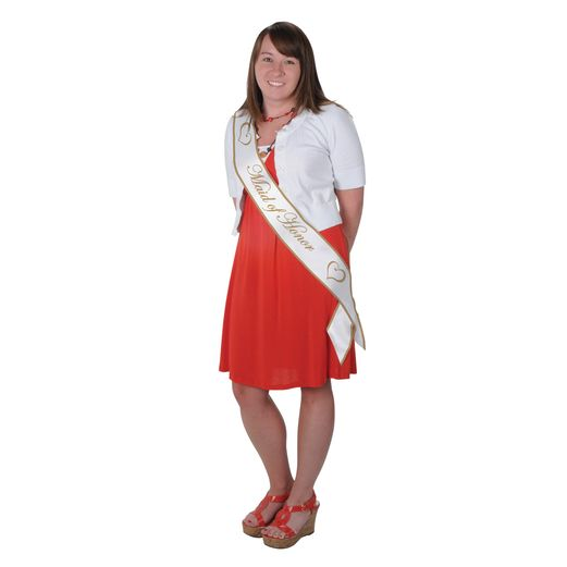 Wedding Party Wear Maid of Honor Satin Sash Image