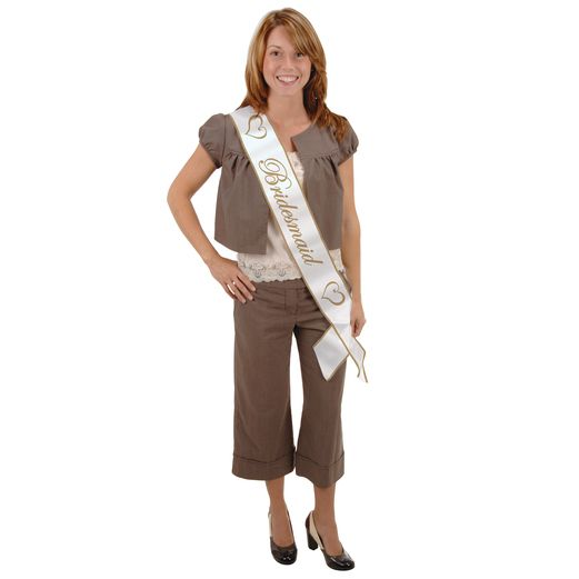 Wedding Party Wear Bridesmaid Satin Sash Image