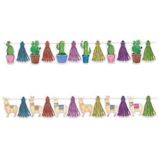 Birthday Party Decorations Llama & Cactus Streamer Set Image