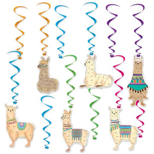 Birthday Party Decorations Llama Whirls Image