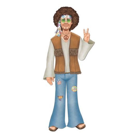 60s & 70s Decorations Jointed Male Hippie Image