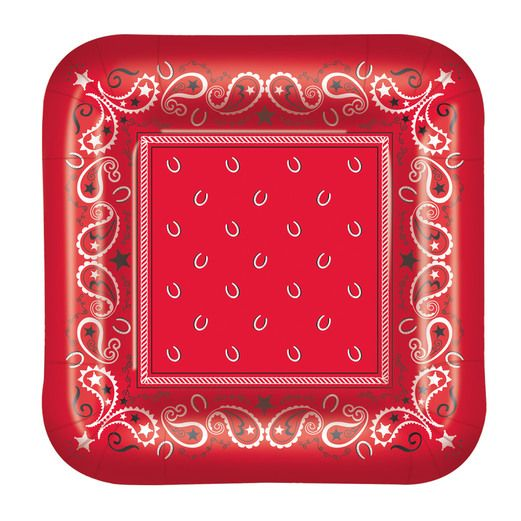"Western Table Accessories Bandana Plates 9"" Image"