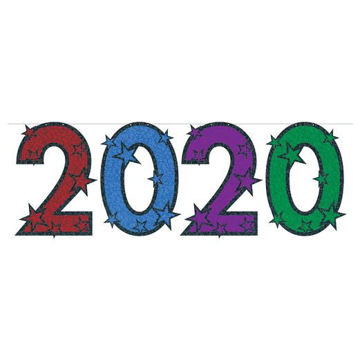 New Years Decorations Multicolor Glittered 2020 Streamer Image