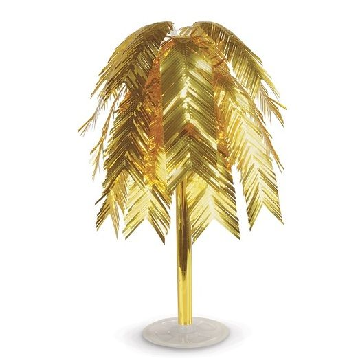 New Years Decorations Gold Metallic Feather Cascade Centerpiece Image