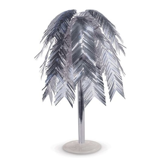 New Years Decorations Silver Metallic Feather Cascade Centerpiece Image