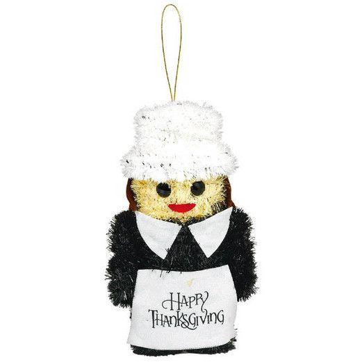 Thanksgiving Decorations Pilgrim Girl Tinsel Decoration Image