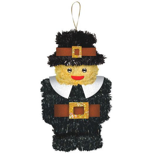 Thanksgiving Decorations Pilgrim Boy Tinsel Decoration  Image