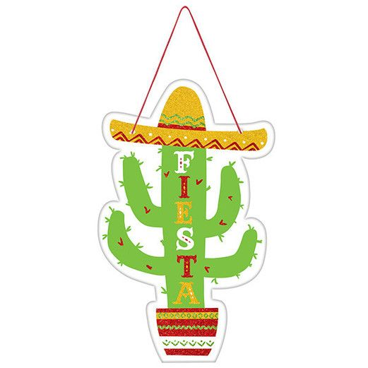 Fiesta Decorations Fiesta Cactus Hanging Sign Image