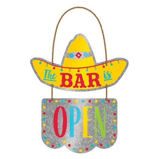 Fiesta Decorations The Bar is Open Hanging Sign Image