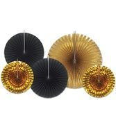 New Years Decorations Black and Gold Decorative Fans Image