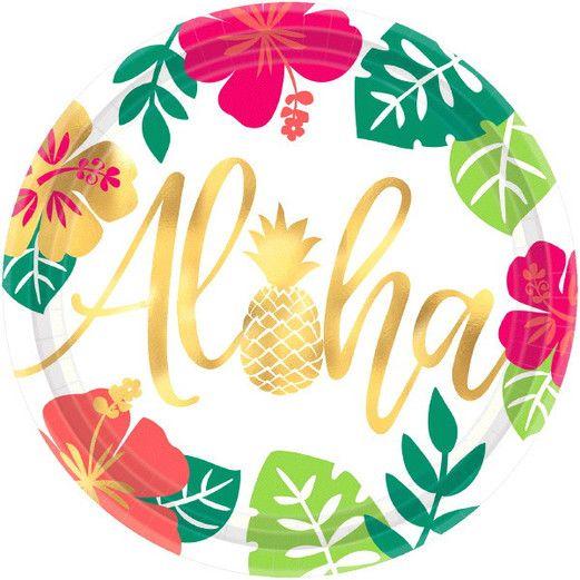 "Luau Table Accessories 10.5"" Aloha Plate 8pkg Image"