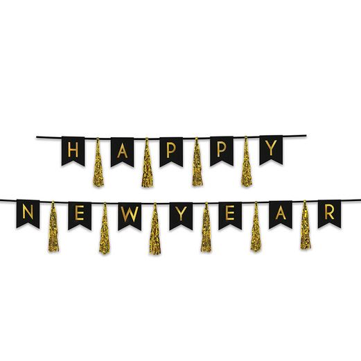 New Years Decorations Happy New Year Tassel Streamer Black and Gold Image