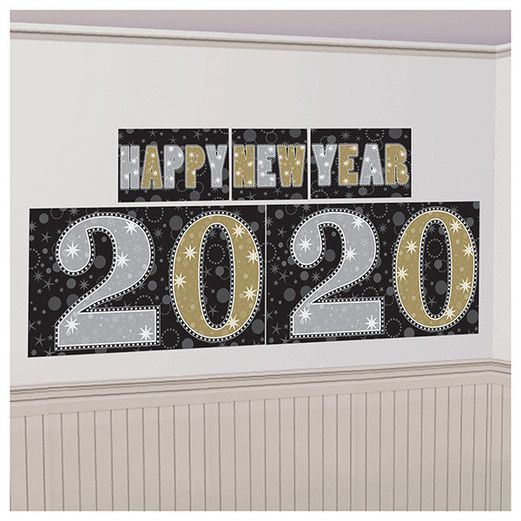 New Years Decorations 2020 New Year Backdrop Black, Gold, & Silver Image