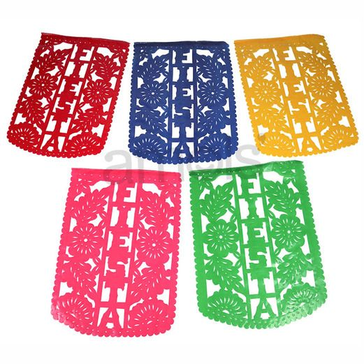 Cinco de Mayo Viva Fiesta Plastic Party Flags Image