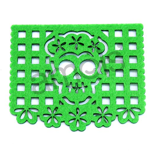 "Day of the Dead Decorations Day of the Dead Felt Picado Coasters 1/16"" Image"