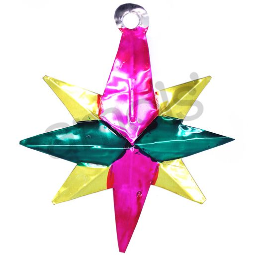 Christmas Decorations Eight Point Star Tin Ornament Image