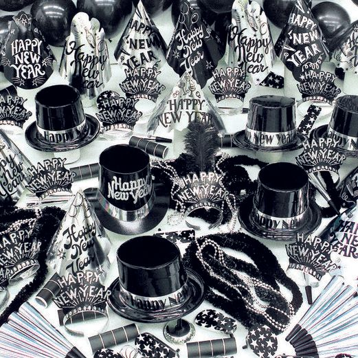 Party Kits / Kits for 100 People Black and Silver Party Kit for 100 Image