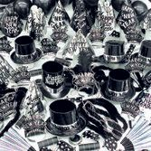 New Years Party Kits Black and Silver Party Kit for 100 Image
