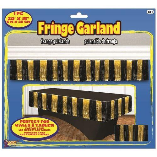 Black and Gold Tinsel Fringe Drape
