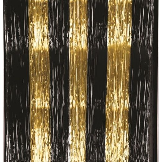 Table Accessories Black and Gold Metallic Table Skirt Image