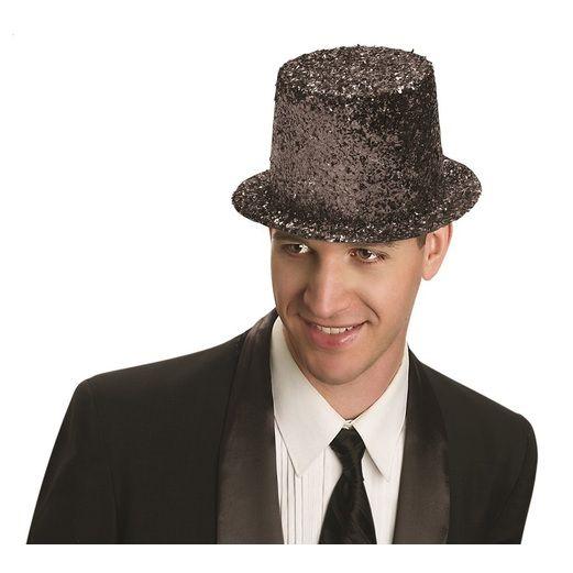 Hats & Headwear Glitter Top Hat- Black Image