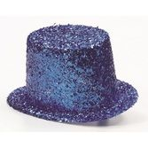 Hats & Headwear Glitter Top Hat- Blue Image