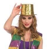 Hats & Headwear Glitter Top Hat- Gold Image