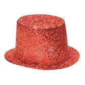Hats & Headwear Glitter Top Hat-Red Image