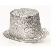 Hats & Headwear Glitter Top Hat-Silver Image
